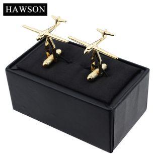 запонки для пилота под золото в подарочной коробочке, модель 56